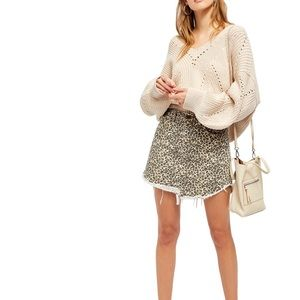 Free people cheetah print denim skirt